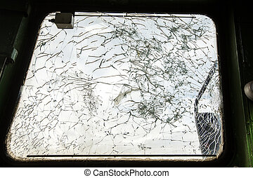 old railway locomotive - Shattered glass in cabine of old...