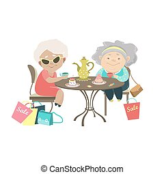 Two old women talking in a cafe after shopping. Vector...