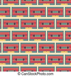 casette pattern - vector seamless pattern with retro...