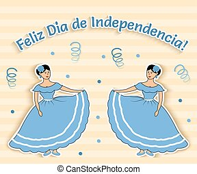 argentina - Funny vector illustration where two girls from...
