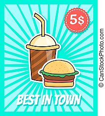 burger poster - vector poster in retro style with burger and...