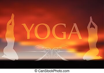 Yoga on blurred background - Vector Image - Yoga pose...