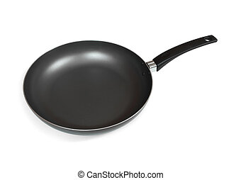 Frying pan - Black empty frying pan isolated on white