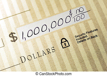 Million Dollar Check - Macro Closeup of Check Made Out for...