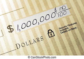 milhão, dólar, cheque
