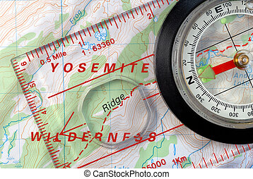 Navigational Compass on Topographical Map - Transparent...