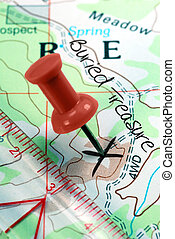 Push Pin on Topographical Treasure Map - Red Push Pin on...