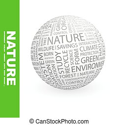 NATURE. Concept illustration. Graphic tag collection....