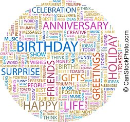 BIRTHDAY. Word cloud illustration. Tag cloud concept...