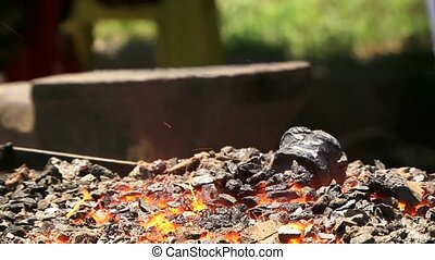Close-up Shot of a Furnace With Hot Flaming Coal - In forge...