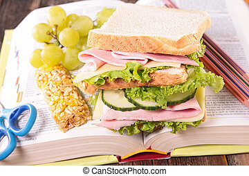 school lunch with sandwich
