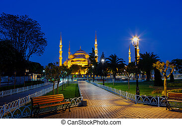 Blue mosque Sultan Ahmed Mosque in Istanbul at night, Turkey...