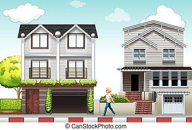 Neighborhood - Man walking in the neighborhood