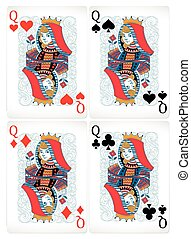 Poker cards - Four different poker cards with classic design