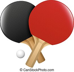 Table tennis racket in black and red