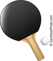 Table tennis - Black table tennis racket with ball