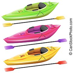 Kayaks and oars in three different colors
