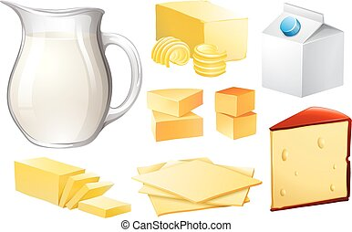 Dairy products - Milk in jar and other dairy products