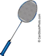 Badminton - Blue badminton racket with net