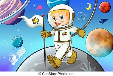 Astronaunt - Man in spacesuit holding a flag