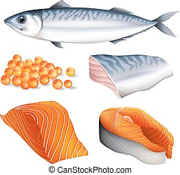 Salmon in different cuts and salmon eggs