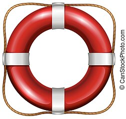 Life saver - Red life saver with rope attached