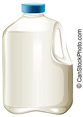 Milk bottle - Bottle of milk with blue lid