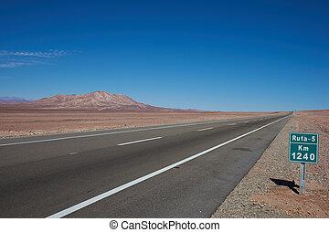Desert Road - Route 5 through the Atacama desert in Chile