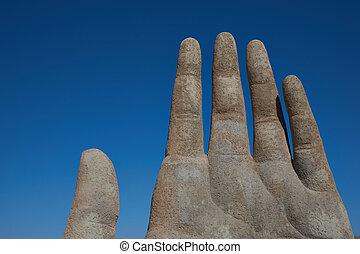 Hand in the Desert - Giant hand sculpture in the Atacama...