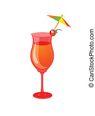 cocktail, mocktail, drink glass with a white background