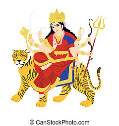goddess durga on tiger, statue with white background