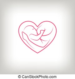 Breast feeding heart shaped sign. Logo in line-art style.