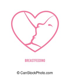 Breastfeeding sign - Breast feeding sign. Logo in line-art...