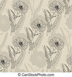 Terry poppy. Floral seamless texture.