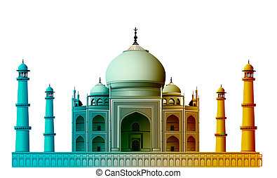 view of Taj Mahal, agra, India with white background