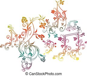 Floral Music Notes - Set of music notes with floral elements...