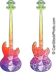 Polygonal Guitar - Colorful stylized guitar silhouette made...