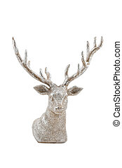 silver deer, isolated on white background