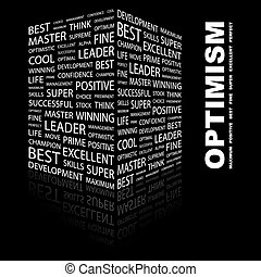 OPTIMISM Background concept wordcloud illustration Print...