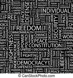 FREEDOM Seamless pattern Word cloud illustration