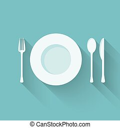 Plate with cutlery (fork, spoon and knife) long shadows -...