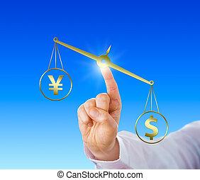 Dollar Outweighing The Yen On A Golden Balance - Dollar sign...
