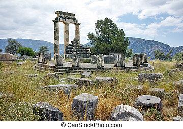 Athena, Pronaia, santuário, em, Delphi,