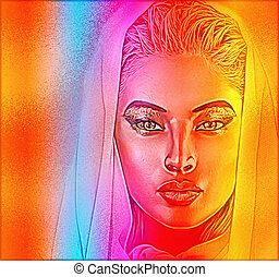 spiritual woman's face close up