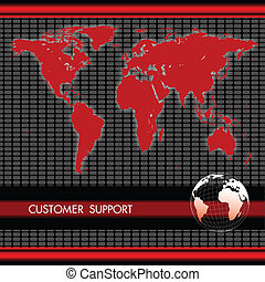 customer support - view of world map and globe with customer...