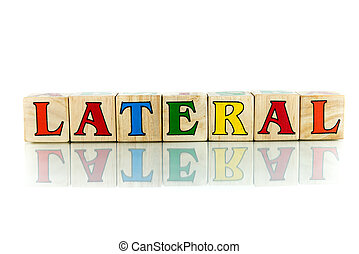 lateral colorful wooden word block on the white background