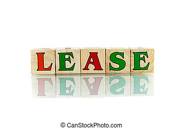 lease - lease colorful wooden word block on the white...
