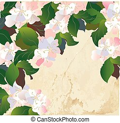 Apple blossom card with paper texture - retro design