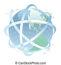 okrążający, różny, ścieżka, Satelici, ziemia, Jego