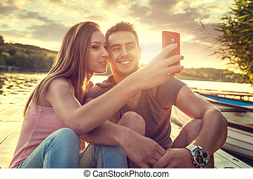 Love Couple smiling, close-up photo selfie